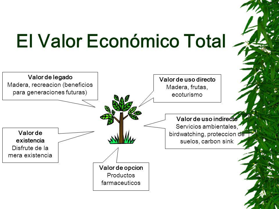 El Valor Económico Total Valor de uso directo Madera, frutas, ecoturismo Valor de legado Madera, recreacion (beneficios para generaciones futuras) Val