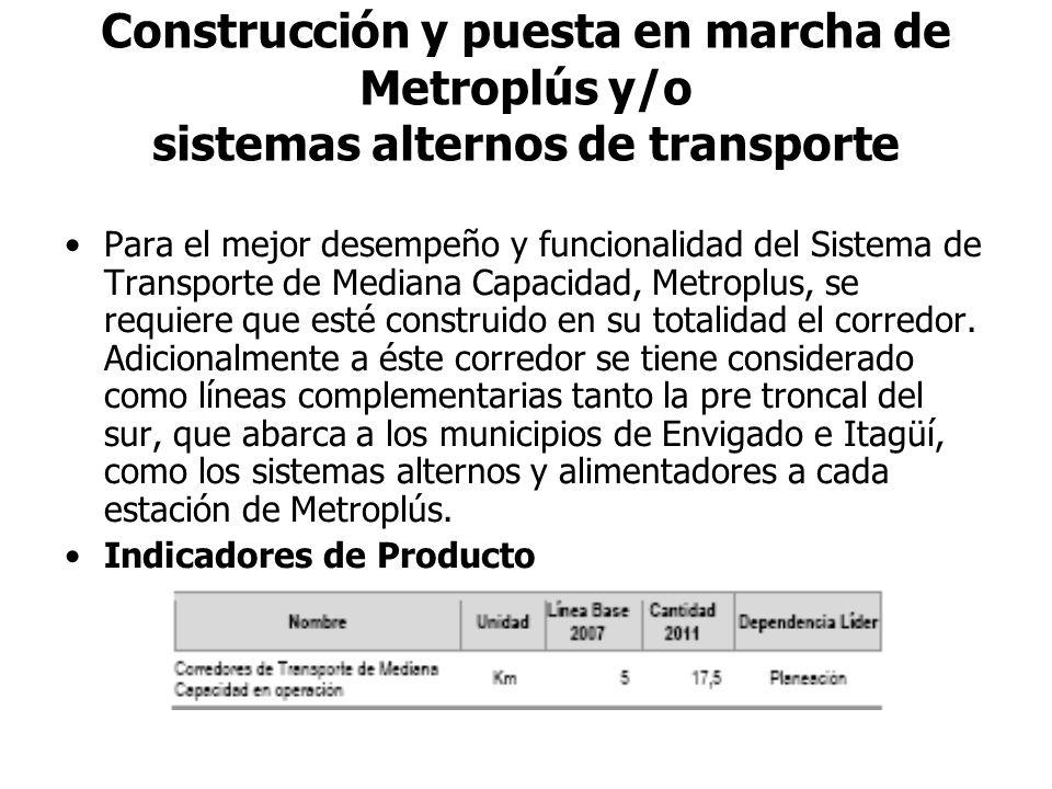 Construcción y puesta en marcha de Metroplús y/o sistemas alternos de transporte Para el mejor desempeño y funcionalidad del Sistema de Transporte de Mediana Capacidad, Metroplus, se requiere que esté construido en su totalidad el corredor.