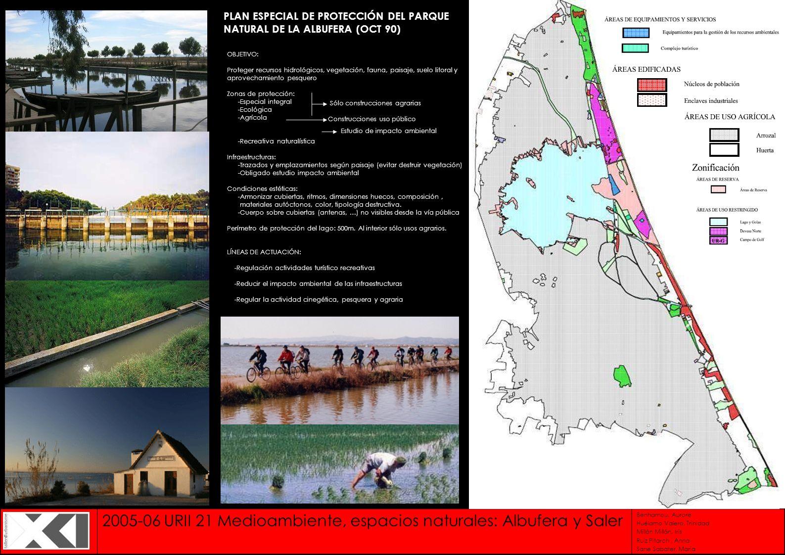 2005-06 URII 21 Medioambiente, espacios naturales: Albufera y Saler Benhamou, Aurore Huélamo Valero, Trinidad Millán Millán, Iris Ruiz Pitarch, Anna S