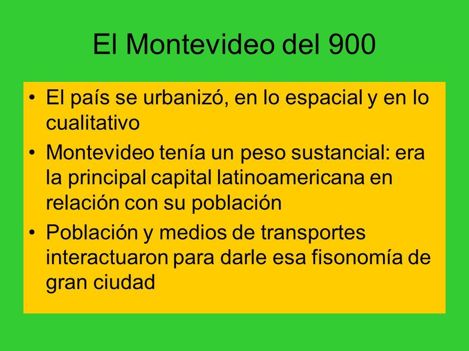 El Montevideo del 900 El país se urbanizó, en lo espacial y en lo cualitativo Montevideo tenía un peso sustancial: era la principal capital latinoamericana en relación con su población Población y medios de transportes interactuaron para darle esa fisonomía de gran ciudad
