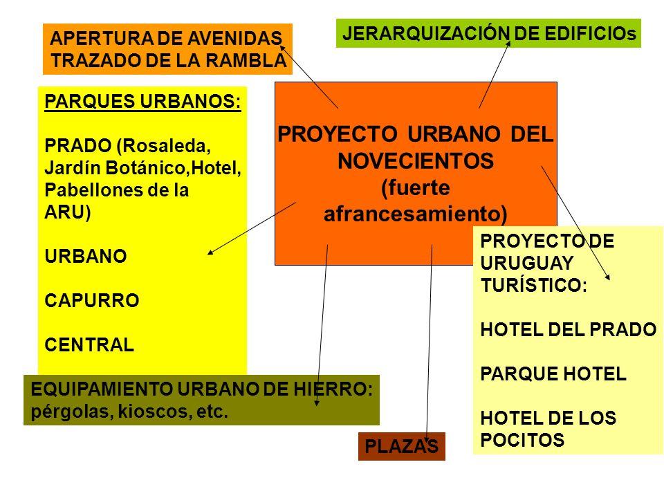 PROYECTO URBANO DEL NOVECIENTOS (fuerte afrancesamiento) APERTURA DE AVENIDAS TRAZADO DE LA RAMBLA JERARQUIZACIÓN DE EDIFICIOs PARQUES URBANOS: PRADO (Rosaleda, Jardín Botánico,Hotel, Pabellones de la ARU) URBANO CAPURRO CENTRAL PLAZAS EQUIPAMIENTO URBANO DE HIERRO: pérgolas, kioscos, etc.