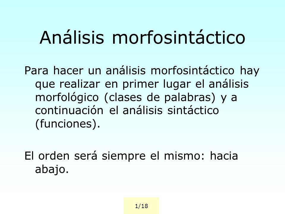 Análisis morfosintáctico Para hacer un análisis morfosintáctico hay que realizar en primer lugar el análisis morfológico (clases de palabras) y a continuación el análisis sintáctico (funciones).