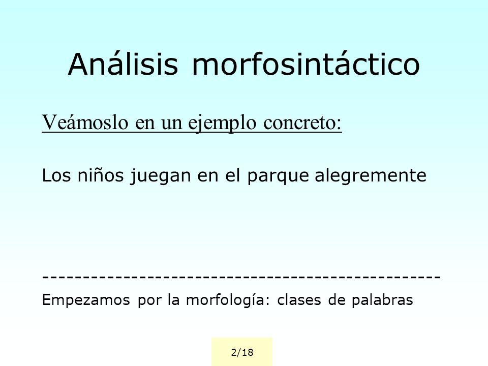 Análisis morfosintáctico Veámoslo en un ejemplo concreto: Los niños juegan en el parque alegremente -------------------------------------------------- Empezamos por la morfología: clases de palabras 2/18