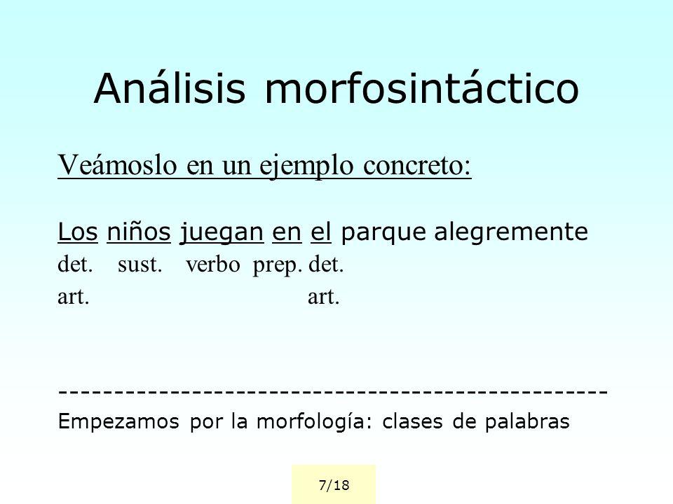 Análisis morfosintáctico Veámoslo en un ejemplo concreto: Los niños juegan en el parque alegremente det. sust. verbo prep. det. art. -----------------