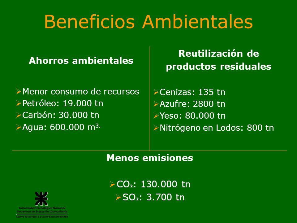 Beneficios Ambientales Ahorros ambientales Menor consumo de recursos Petróleo: 19.000 tn Carbón: 30.000 tn Agua: 600.000 m 3. Reutilización de product