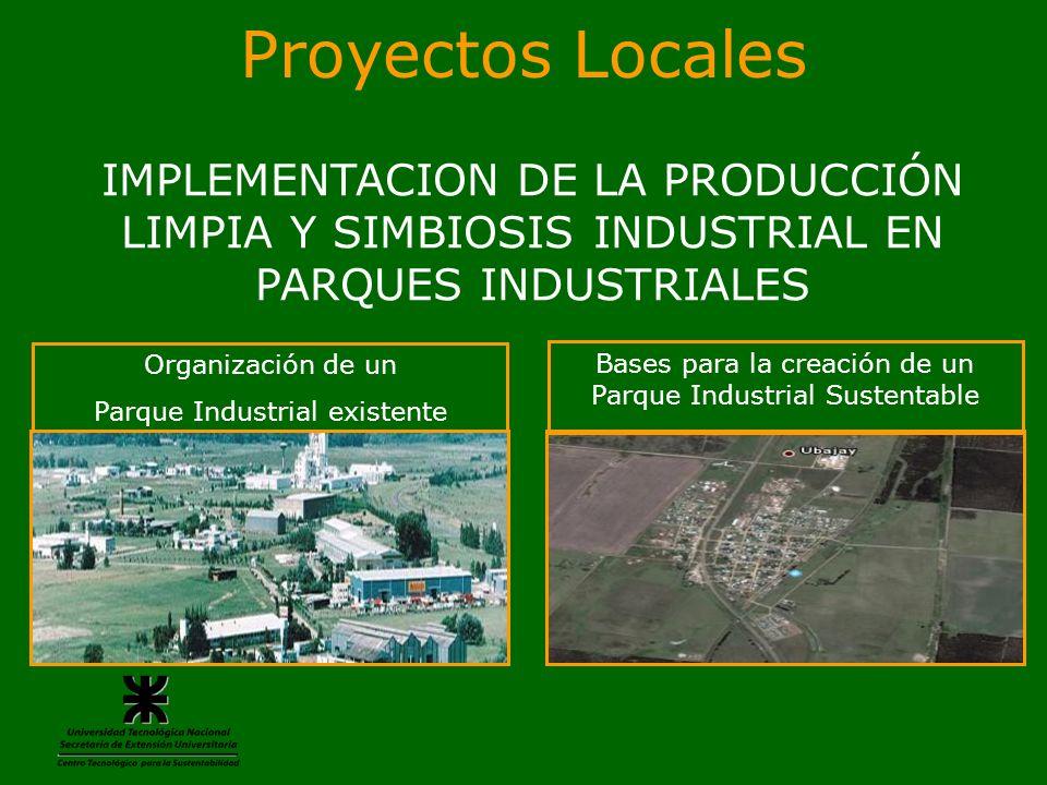 Proyectos Locales IMPLEMENTACION DE LA PRODUCCIÓN LIMPIA Y SIMBIOSIS INDUSTRIAL EN PARQUES INDUSTRIALES Organización de un Parque Industrial existente