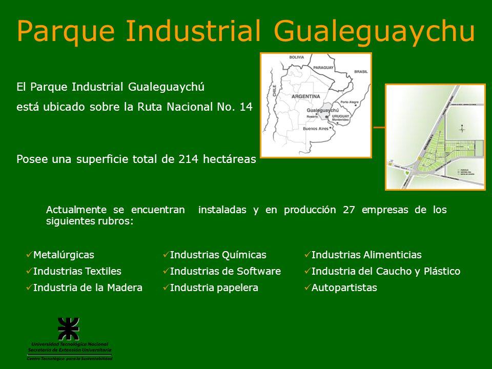 Actualmente se encuentran instaladas y en producción 27 empresas de los siguientes rubros: Metalúrgicas Industrias Químicas Industrias Alimenticias In