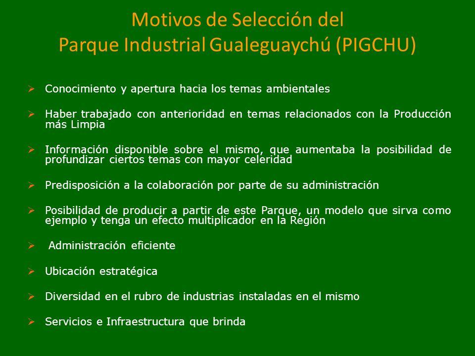 Motivos de Selección del Parque Industrial Gualeguaychú (PIGCHU) Conocimiento y apertura hacia los temas ambientales Haber trabajado con anterioridad