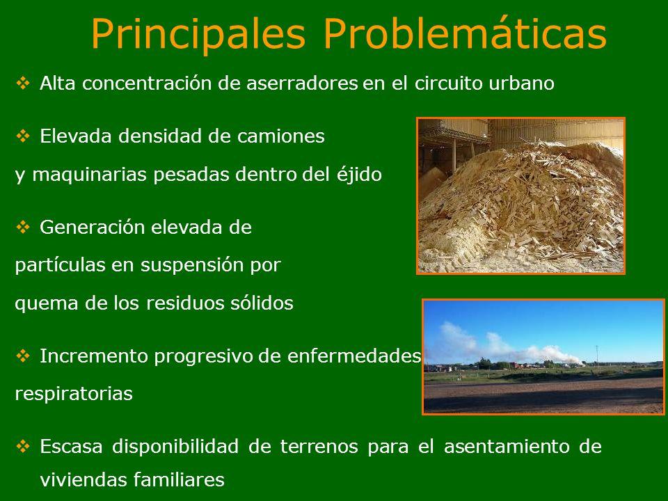Principales Problemáticas Alta concentración de aserradores en el circuito urbano Elevada densidad de camiones y maquinarias pesadas dentro del éjido