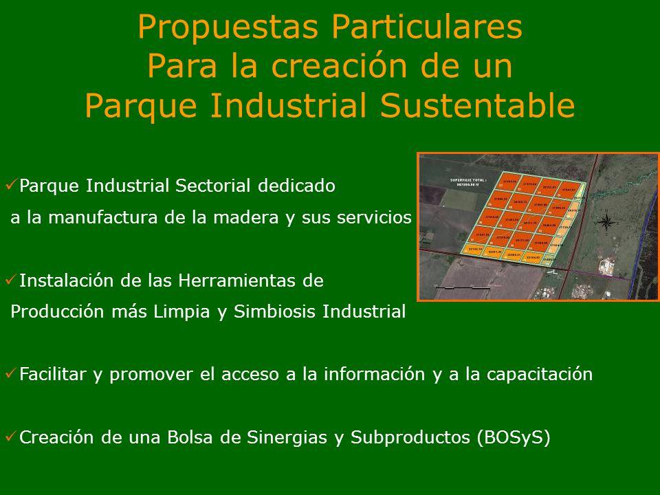 Propuestas Particulares Para la creación de un Parque Industrial Sustentable Parque Industrial Sectorial dedicado a la manufactura de la madera y sus