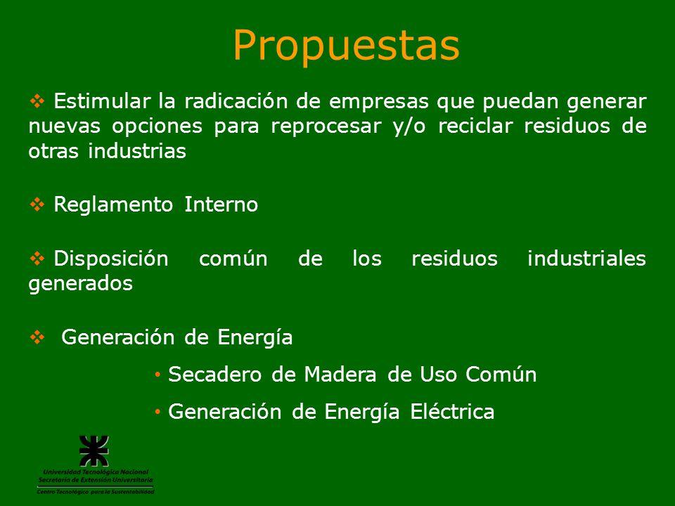 Propuestas Estimular la radicación de empresas que puedan generar nuevas opciones para reprocesar y/o reciclar residuos de otras industrias Reglamento