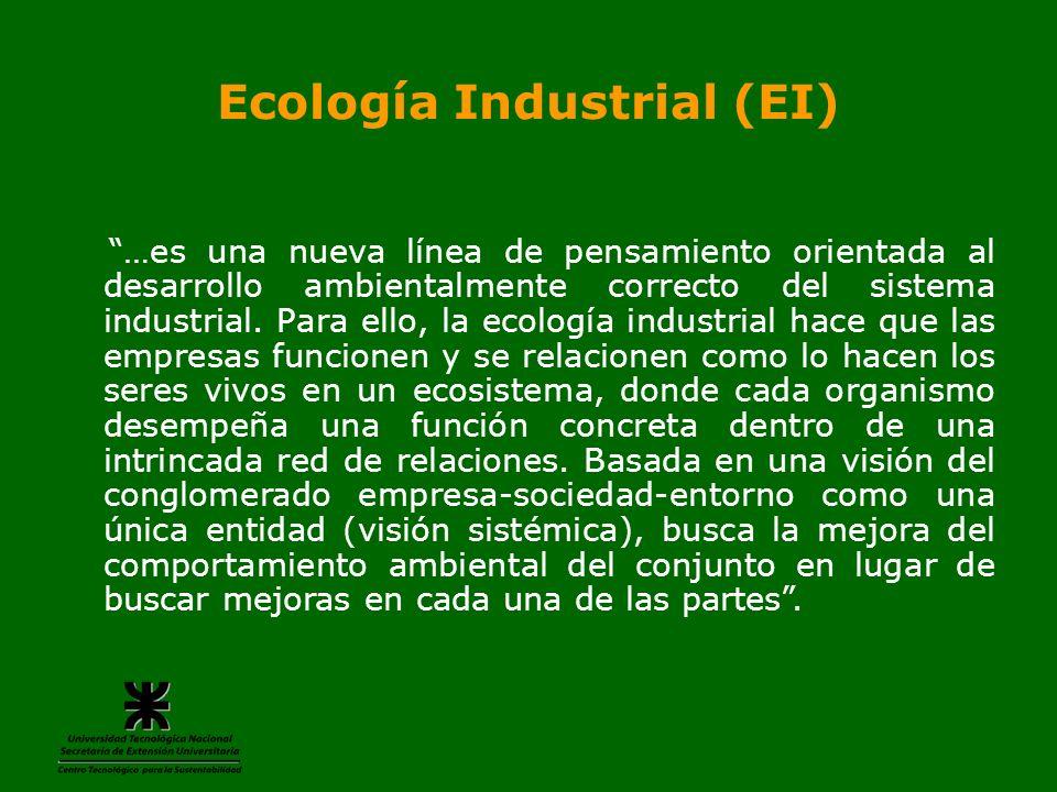 Ecología Industrial (EI) …es una nueva línea de pensamiento orientada al desarrollo ambientalmente correcto del sistema industrial. Para ello, la ecol