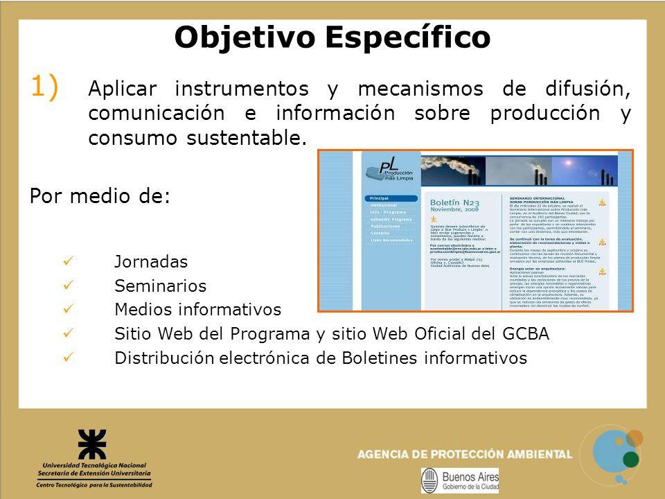 Objetivo Específico 1) Aplicar instrumentos y mecanismos de difusión, comunicación e información sobre producción y consumo sustentable. Por medio de: