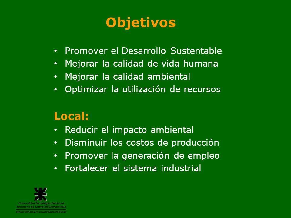 Objetivos Promover el Desarrollo Sustentable Mejorar la calidad de vida humana Mejorar la calidad ambiental Optimizar la utilización de recursos Local