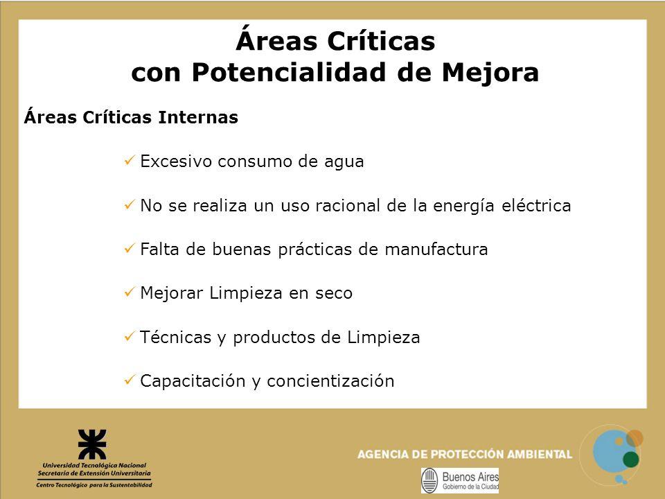Áreas Críticas Internas Excesivo consumo de agua No se realiza un uso racional de la energía eléctrica Falta de buenas prácticas de manufactura Mejora