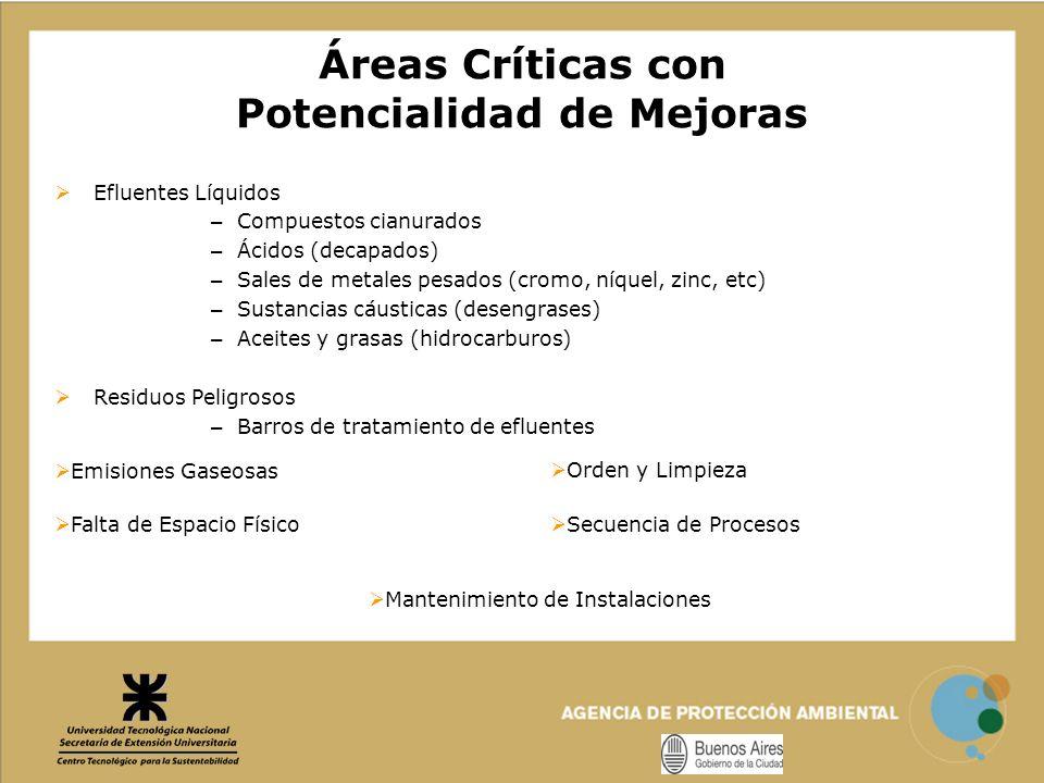 Áreas Críticas con Potencialidad de Mejoras Efluentes Líquidos – Compuestos cianurados – Ácidos (decapados) – Sales de metales pesados (cromo, níquel,