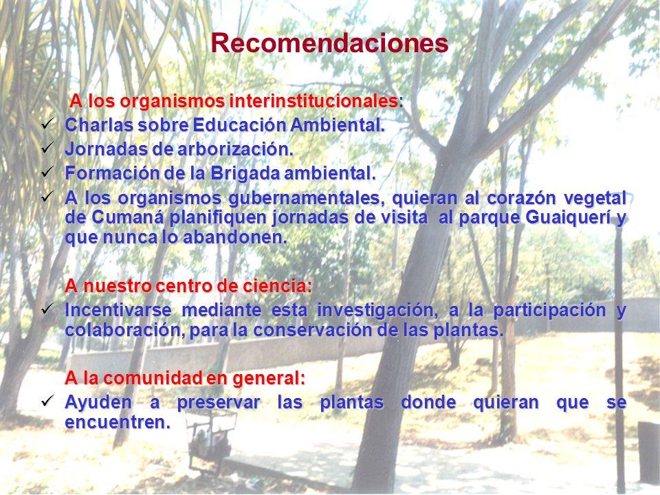 Recomendaciones A los organismos interinstitucionales: Charlas sobre Educación Ambiental.