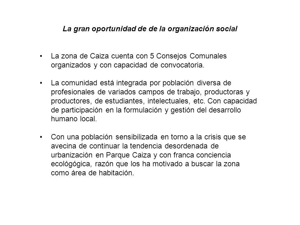 La gran oportunidad de de la organización social La zona de Caiza cuenta con 5 Consejos Comunales organizados y con capacidad de convocatoria.