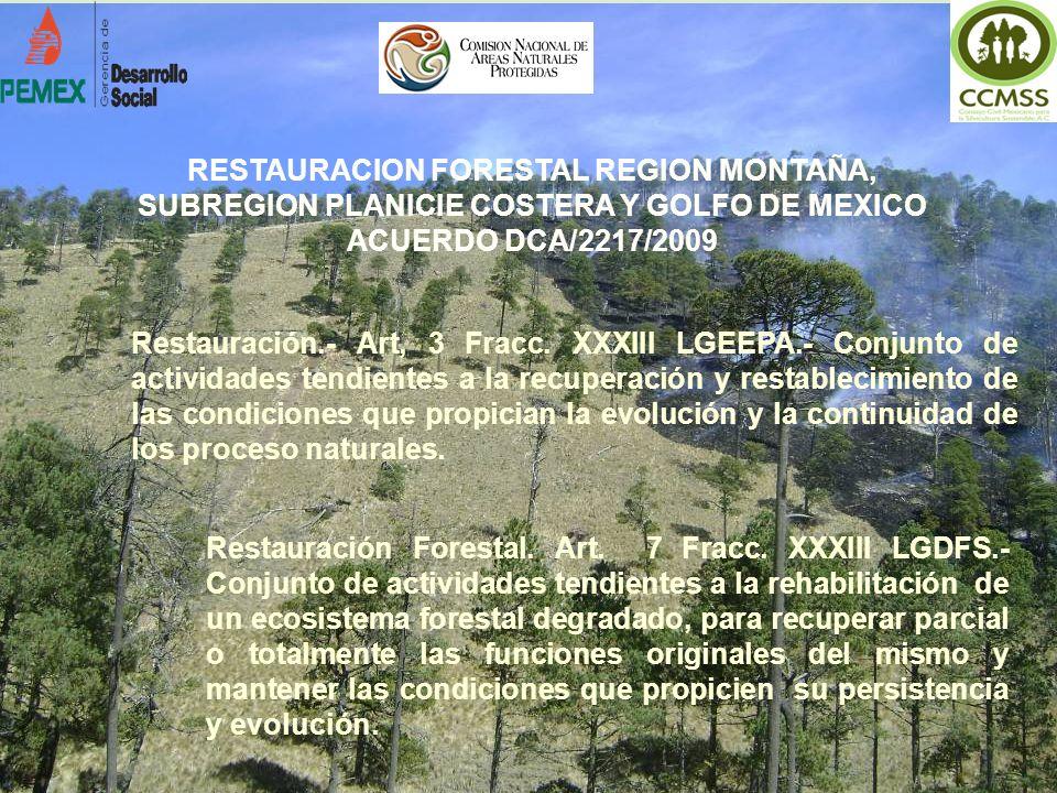 Restauración.- Art, 3 Fracc. XXXIII LGEEPA.- Conjunto de actividades tendientes a la recuperación y restablecimiento de las condiciones que propician