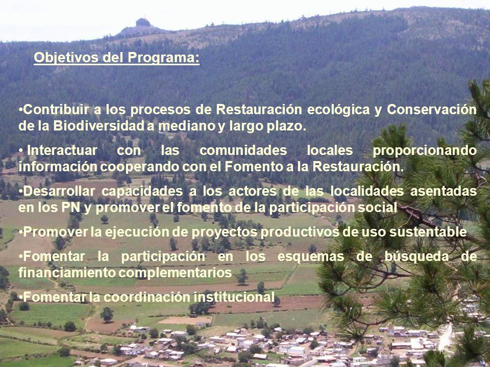 Contribuir a los procesos de Restauración ecológica y Conservación de la Biodiversidad a mediano y largo plazo. Interactuar con las comunidades locale