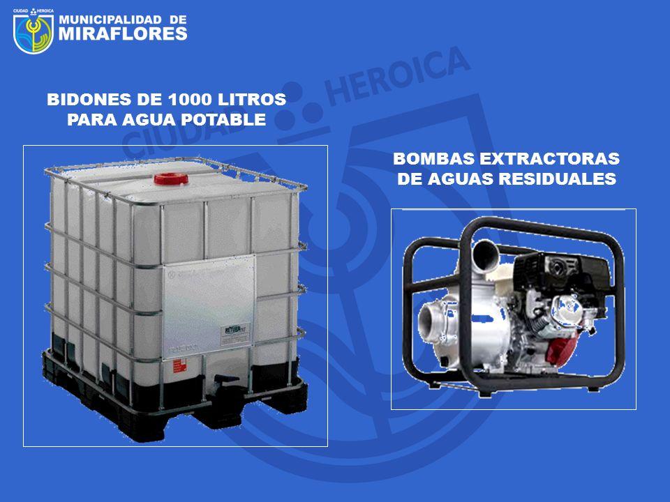 BIDONES DE 1000 LITROS PARA AGUA POTABLE BOMBAS EXTRACTORAS DE AGUAS RESIDUALES