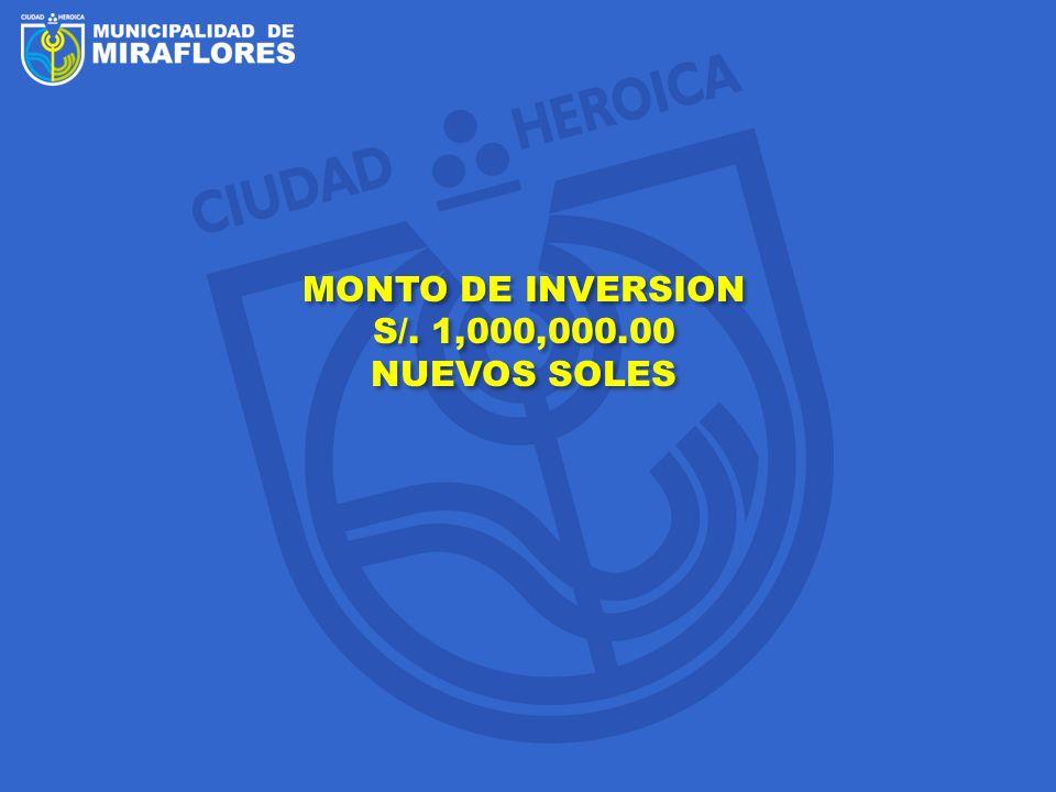 MONTO DE INVERSION S/. 1,000,000.00 NUEVOS SOLES MONTO DE INVERSION S/. 1,000,000.00 NUEVOS SOLES