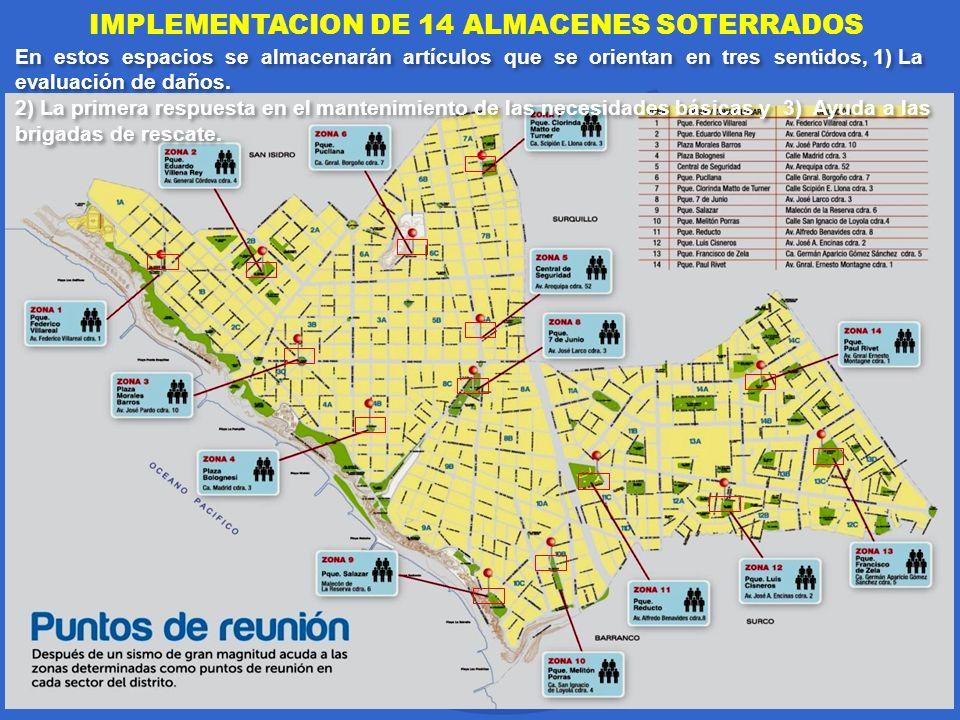IMPLEMENTACION DE 14 ALMACENES SOTERRADOS En estos espacios se almacenarán artículos que se orientan en tres sentidos, 1) La evaluación de daños. 2) L