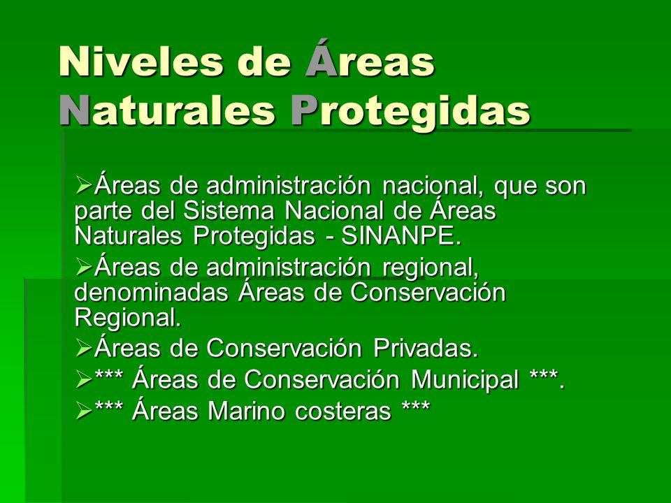 Niveles de Áreas Naturales Protegidas Áreas de administración nacional, que son parte del Sistema Nacional de Áreas Naturales Protegidas - SINANPE. Ár