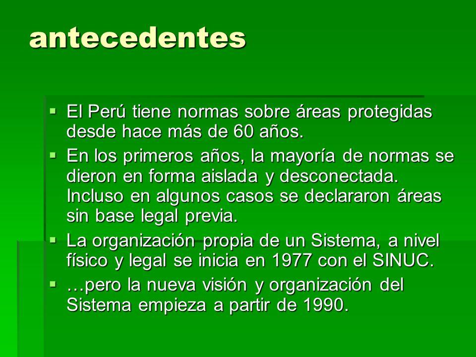 antecedentes El Perú tiene normas sobre áreas protegidas desde hace más de 60 años. El Perú tiene normas sobre áreas protegidas desde hace más de 60 a