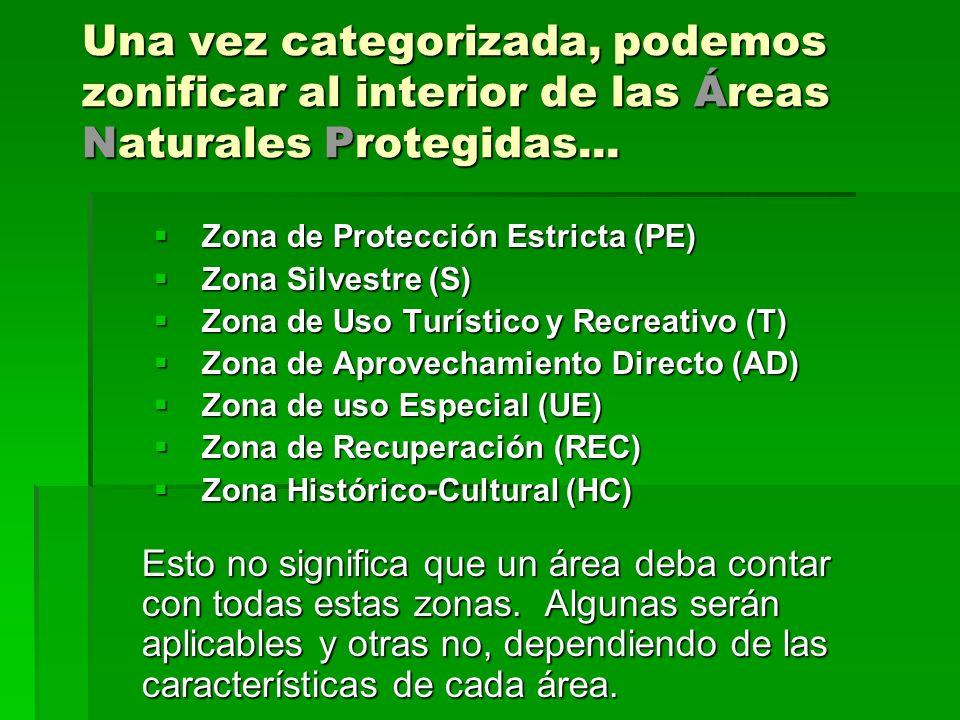 Una vez categorizada, podemos zonificar al interior de las Áreas Naturales Protegidas... Zona de Protección Estricta (PE) Zona de Protección Estricta