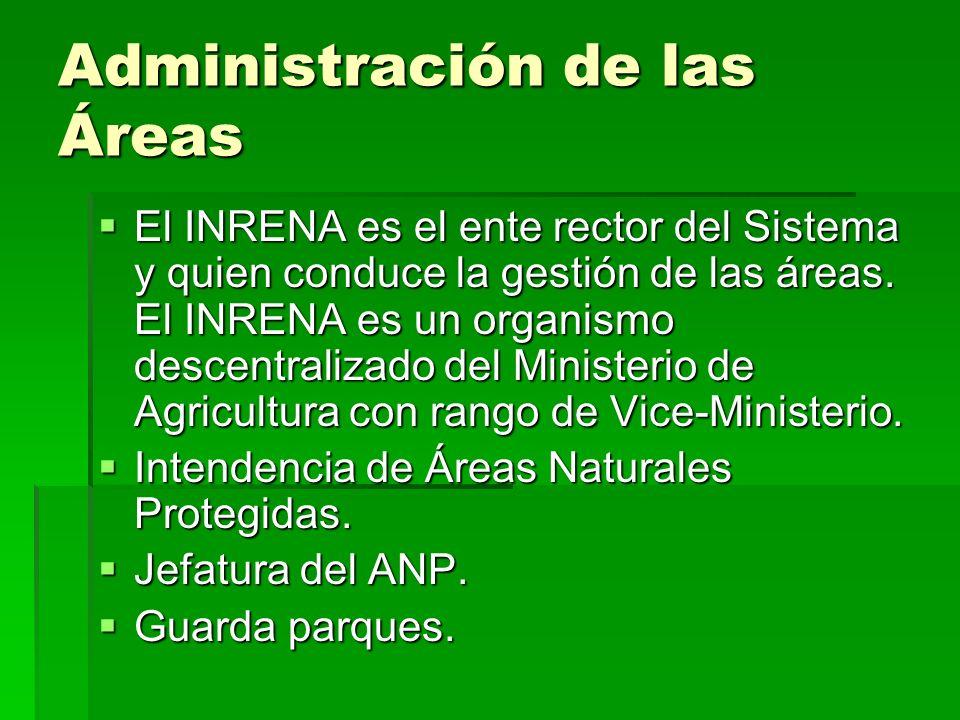 Administración de las Áreas El INRENA es el ente rector del Sistema y quien conduce la gestión de las áreas. El INRENA es un organismo descentralizado
