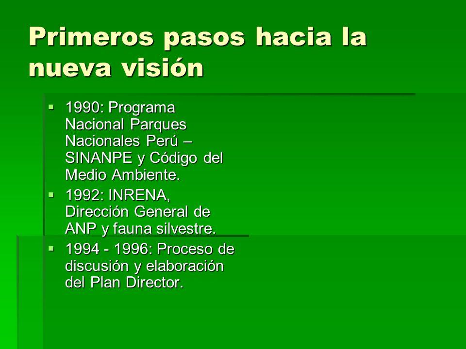 Primeros pasos hacia la nueva visión 1990: Programa Nacional Parques Nacionales Perú – SINANPE y Código del Medio Ambiente. 1990: Programa Nacional Pa