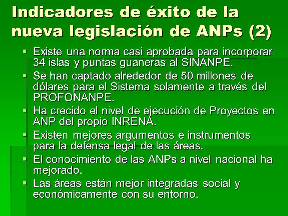 Indicadores de éxito de la nueva legislación de ANPs (2) Existe una norma casi aprobada para incorporar 34 islas y puntas guaneras al SINANPE. Existe