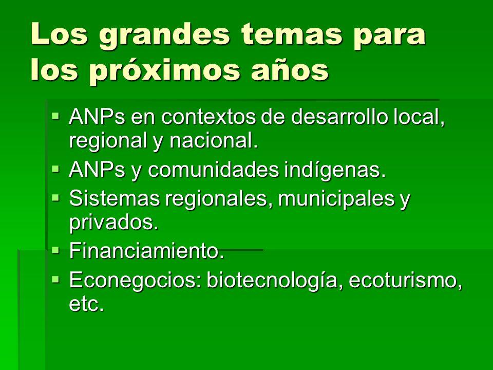 Los grandes temas para los próximos años ANPs en contextos de desarrollo local, regional y nacional. ANPs en contextos de desarrollo local, regional y