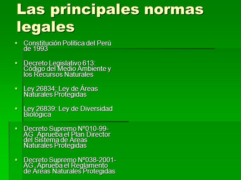 Las principales normas legales Constitución Política del Perú de 1993 Constitución Política del Perú de 1993 Decreto Legislativo 613: Código del Medio