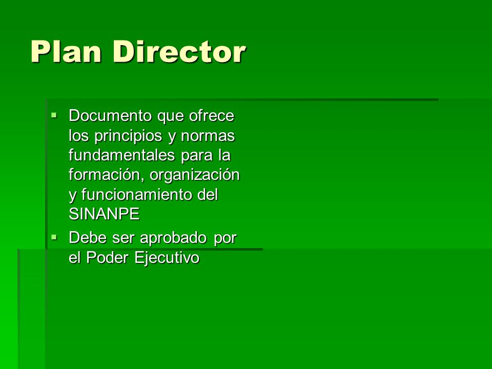Plan Director Documento que ofrece los principios y normas fundamentales para la formación, organización y funcionamiento del SINANPE Documento que of