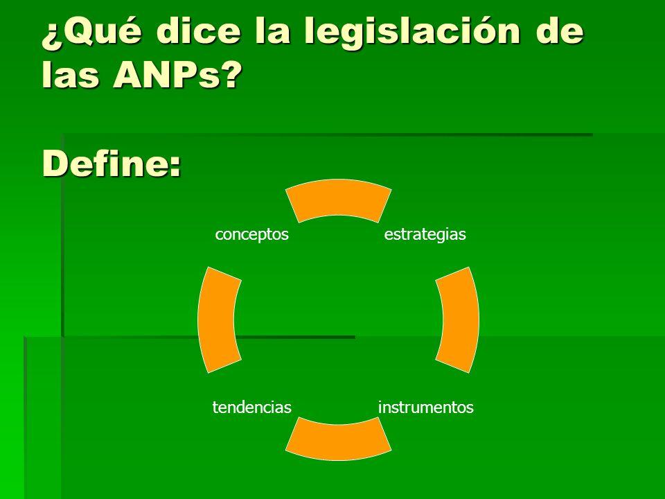 ¿Qué dice la legislación de las ANPs? Define: estrategias instrumentostendencias conceptos