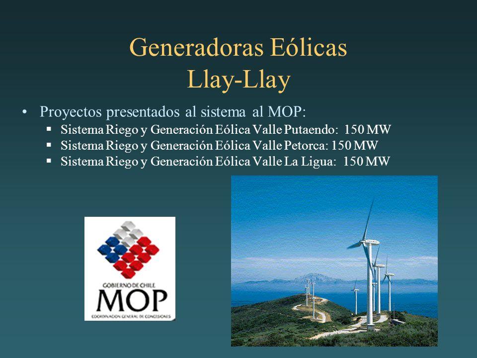 Generadoras Eólicas Llay-Llay Proyectos presentados al sistema al MOP: Sistema Riego y Generación Eólica Valle Putaendo: 150 MW Sistema Riego y Generación Eólica Valle Petorca: 150 MW Sistema Riego y Generación Eólica Valle La Ligua: 150 MW