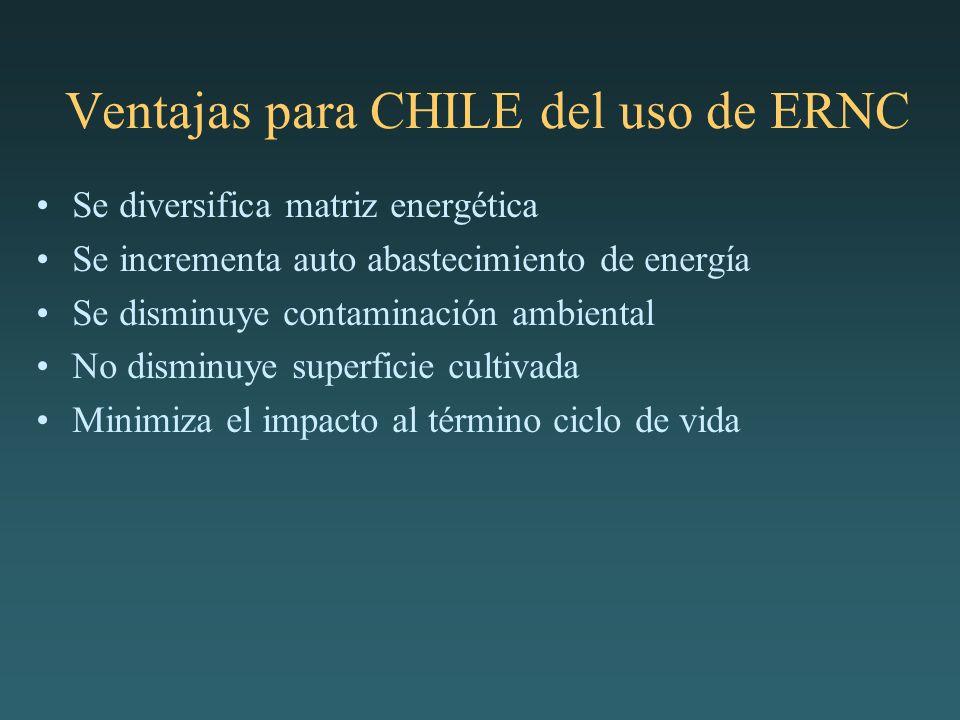 Ventajas para CHILE del uso de ERNC Se diversifica matriz energética Se incrementa auto abastecimiento de energía Se disminuye contaminación ambiental No disminuye superficie cultivada Minimiza el impacto al término ciclo de vida