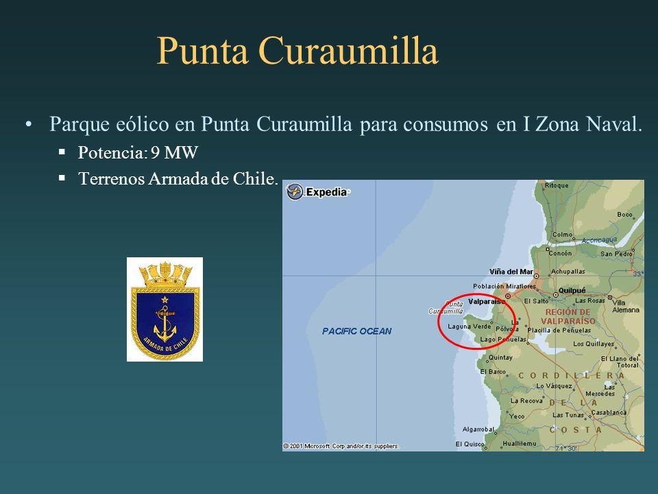 Punta Curaumilla Parque eólico en Punta Curaumilla para consumos en I Zona Naval. Potencia: 9 MW Terrenos Armada de Chile.