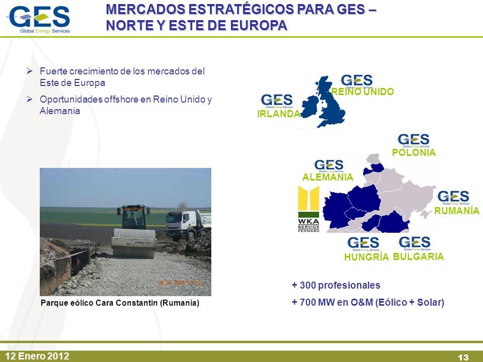 12 Enero 2012 13 POLONIA HUNGRÍA + 300 profesionales + 700 MW en O&M (Eólico + Solar) REINO UNIDO IRLANDA Fuerte crecimiento de los mercados del Este