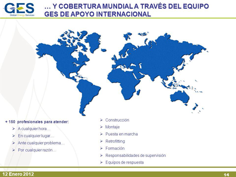12 Enero 2012 14 Construcción Montaje Puesta en marcha Retrofitting Formación Responsabilidades de supervisión Equipos de respuesta + 150 profesionale