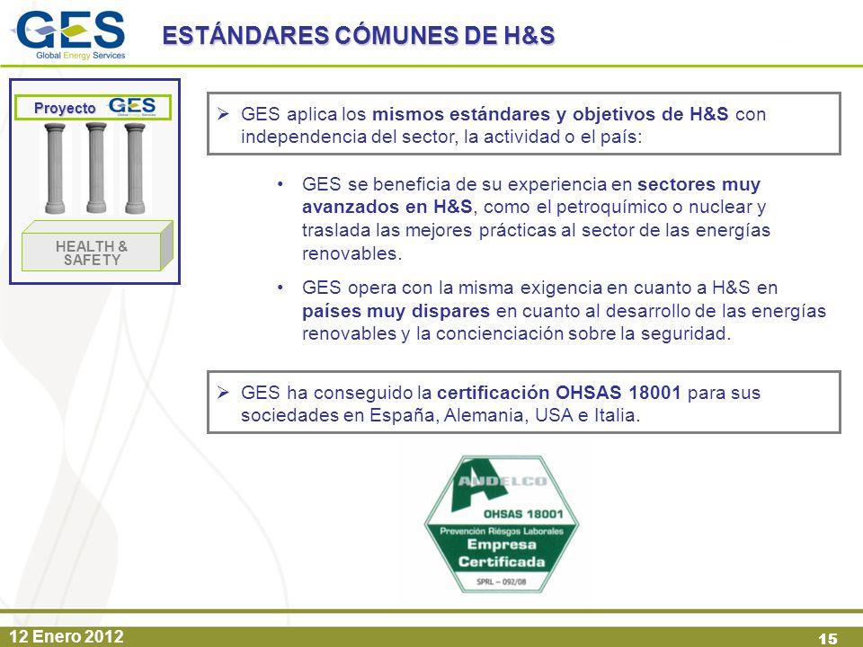 12 Enero 2012 15 GES aplica los mismos estándares y objetivos de H&S con independencia del sector, la actividad o el país: ESTÁNDARES CÓMUNES DE H&S P