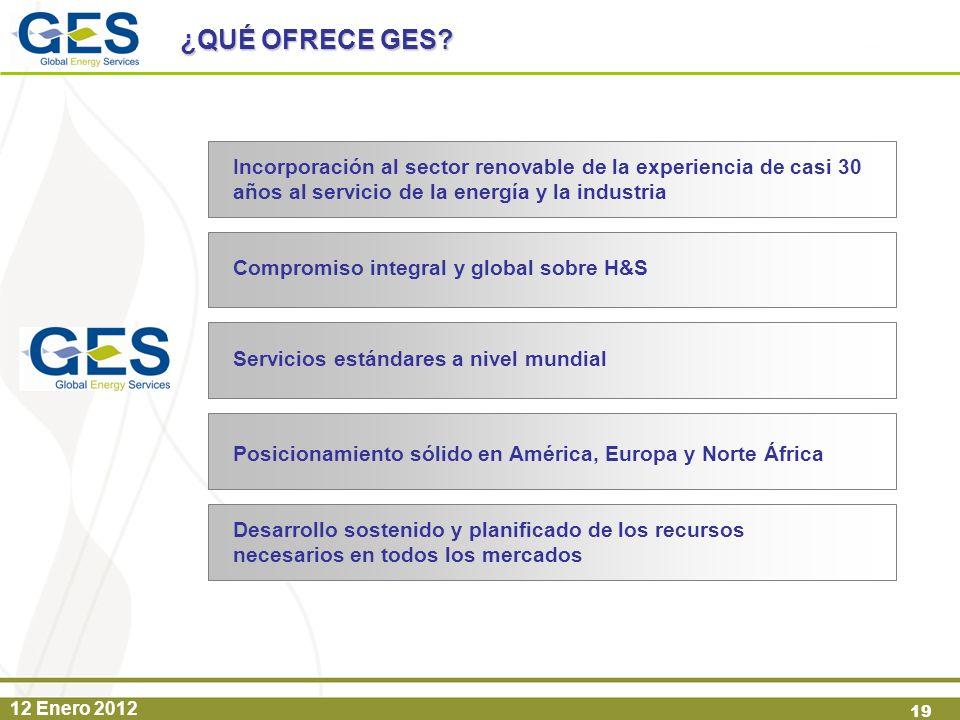 12 Enero 2012 19 Incorporación al sector renovable de la experiencia de casi 30 años al servicio de la energía y la industria Compromiso integral y gl