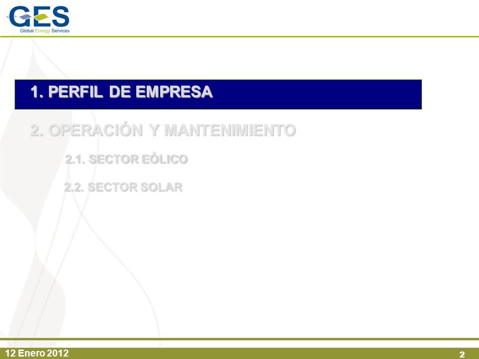 12 Enero 2012 2 1.PERFIL DE EMPRESA 2.OPERACIÓN Y MANTENIMIENTO 2.1. SECTOR EÓLICO 2.2. SECTOR SOLAR