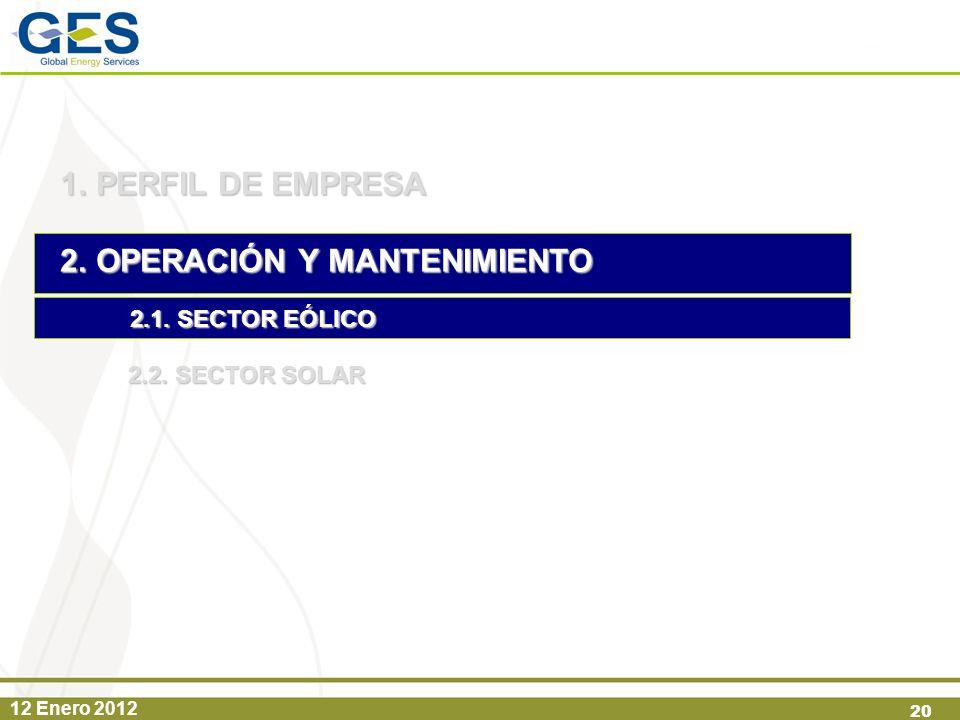 12 Enero 2012 20 1.PERFIL DE EMPRESA 2.OPERACIÓN Y MANTENIMIENTO 2.1. SECTOR EÓLICO 2.2. SECTOR SOLAR
