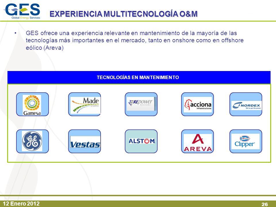 12 Enero 2012 26 GES ofrece una experiencia relevante en mantenimiento de la mayoría de las tecnologías más importantes en el mercado, tanto en onshor