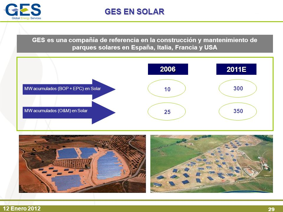 12 Enero 2012 29 GES es una compañía de referencia en la construcción y mantenimiento de parques solares en España, Italia, Francia y USA GES EN SOLAR
