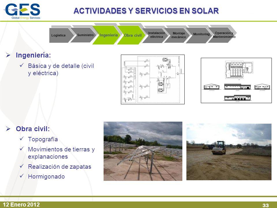 12 Enero 2012 33 Ingeniería: Básica y de detalle (civil y eléctrica) Obra civil: Topografía Movimientos de tierras y explanaciones Realización de zapa