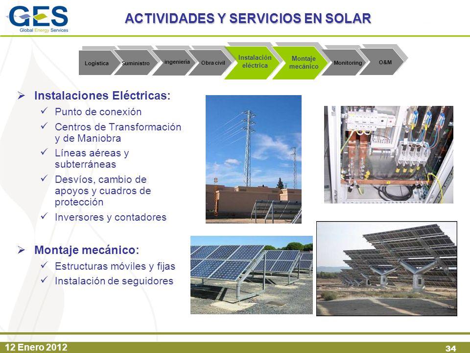 12 Enero 2012 34 Instalaciones Eléctricas: Punto de conexión Centros de Transformación y de Maniobra Líneas aéreas y subterráneas Desvíos, cambio de a
